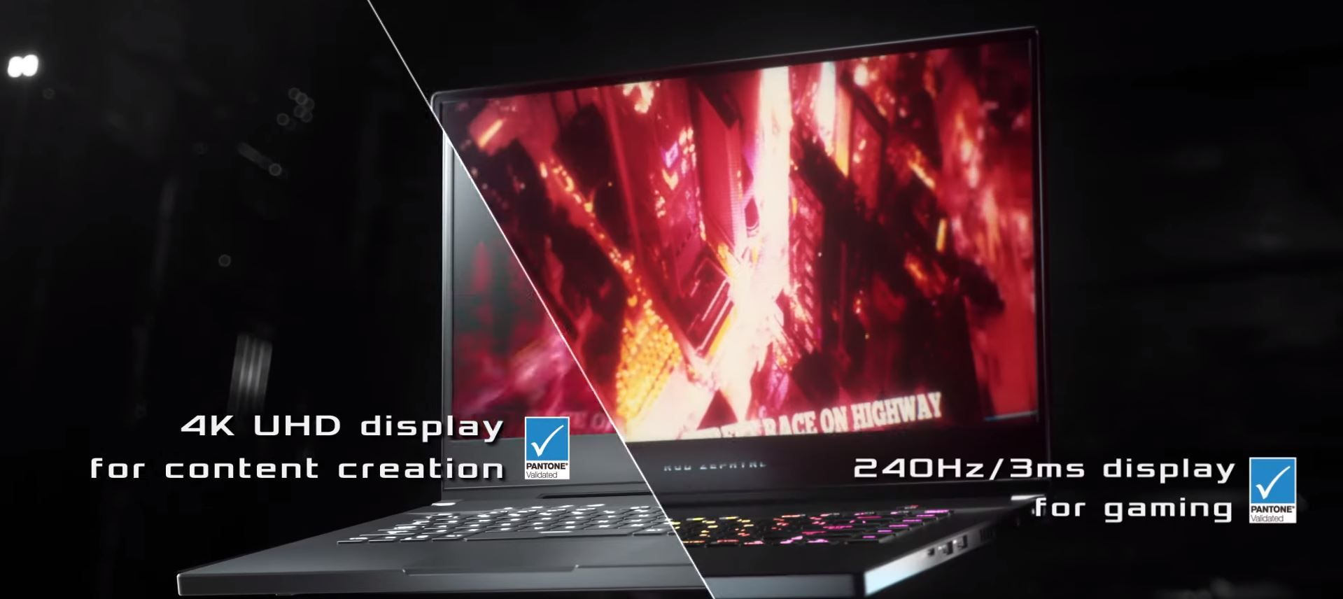 CGI of laptop showing 4k display