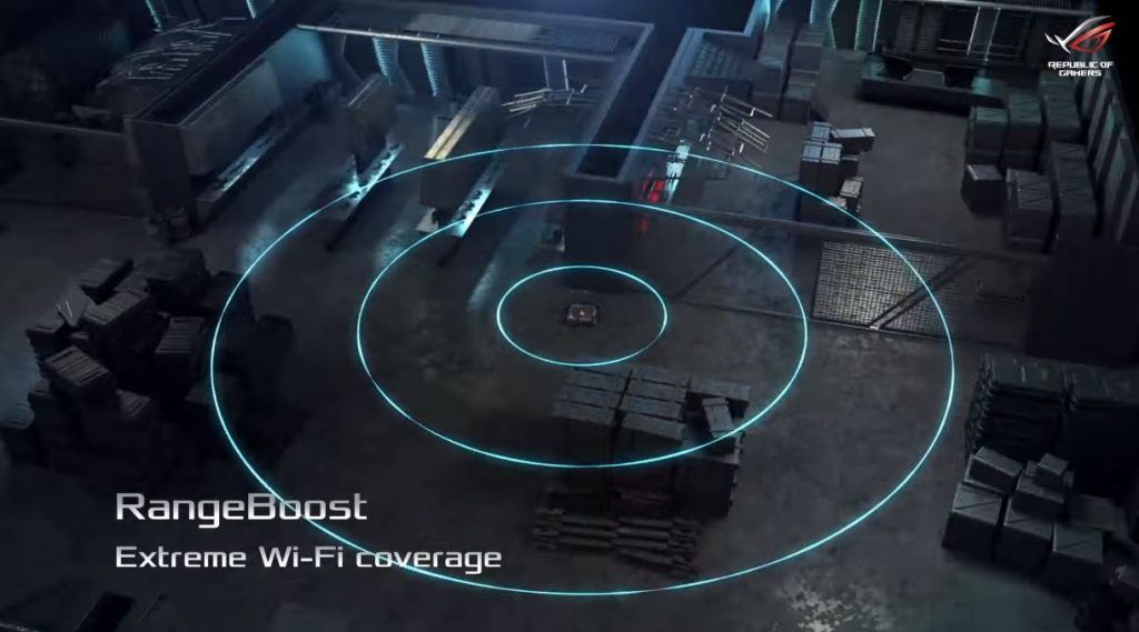 demonstrating the range boost tech in asus router