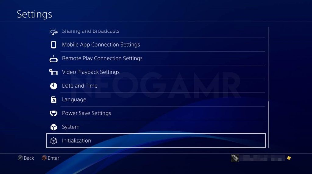 how to reset your ps4 step 1