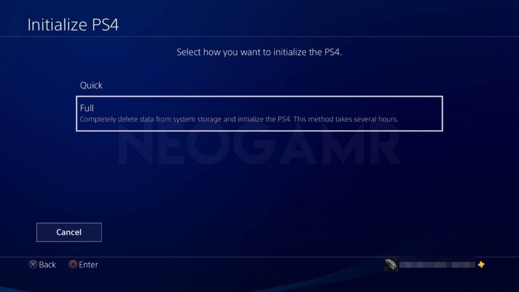 how to reset your ps4 step 3