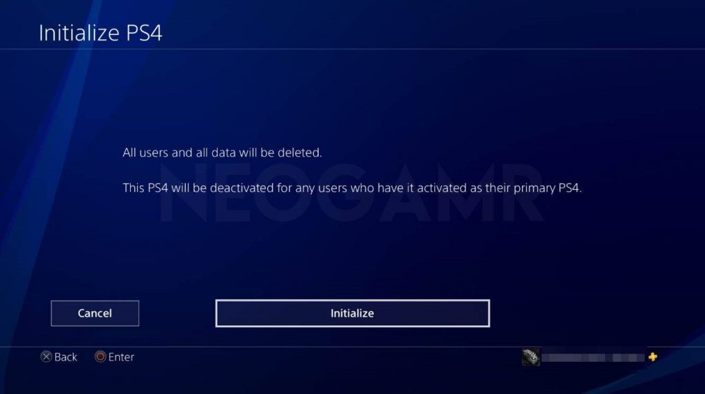 how to reset your ps4 step 4