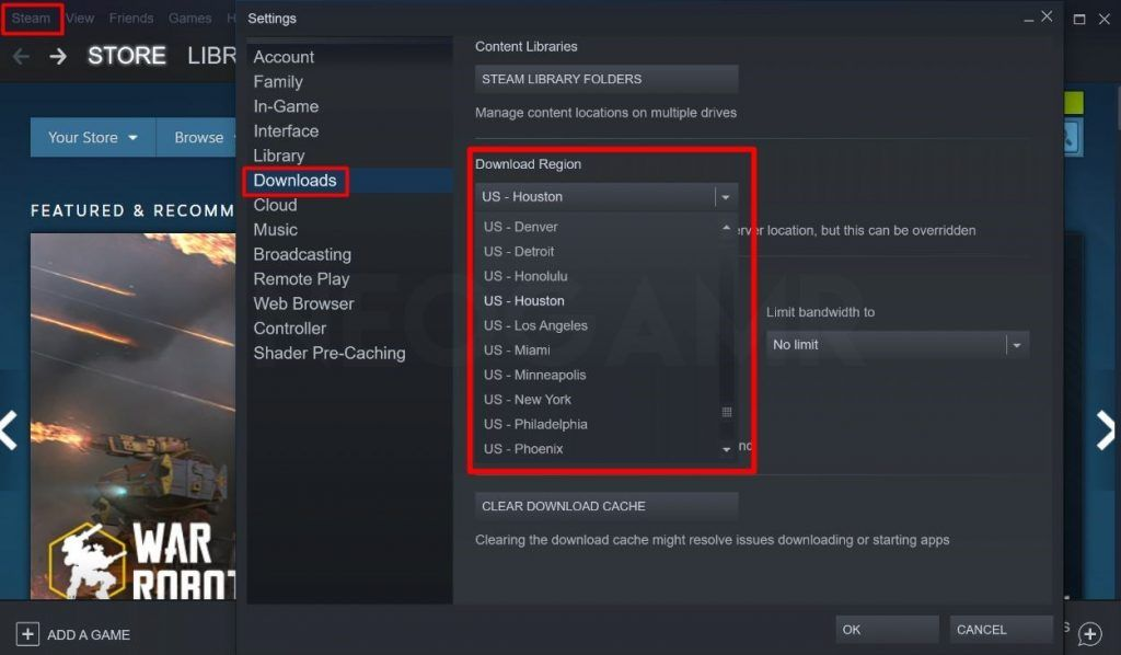 image of changing the download region in steam app
