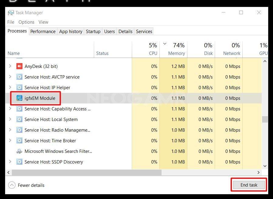 image of task manager end task named igfx module