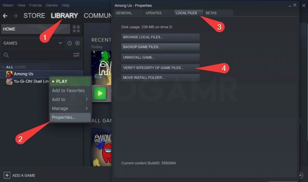 image of the option verify game files in steam pc app