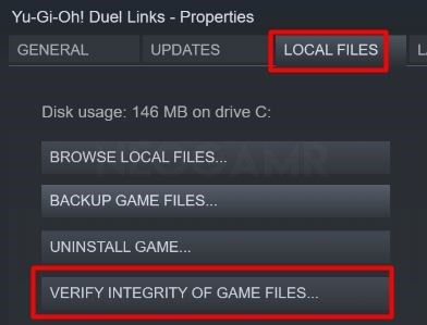 image of verify integfity of game files option