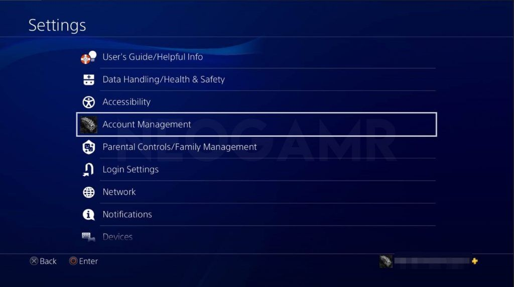 ps4 settings dashboard showing account management option
