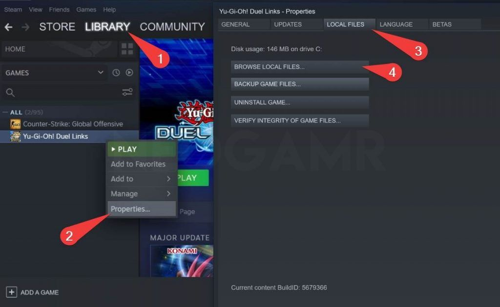 showing how to find game properties in steam app