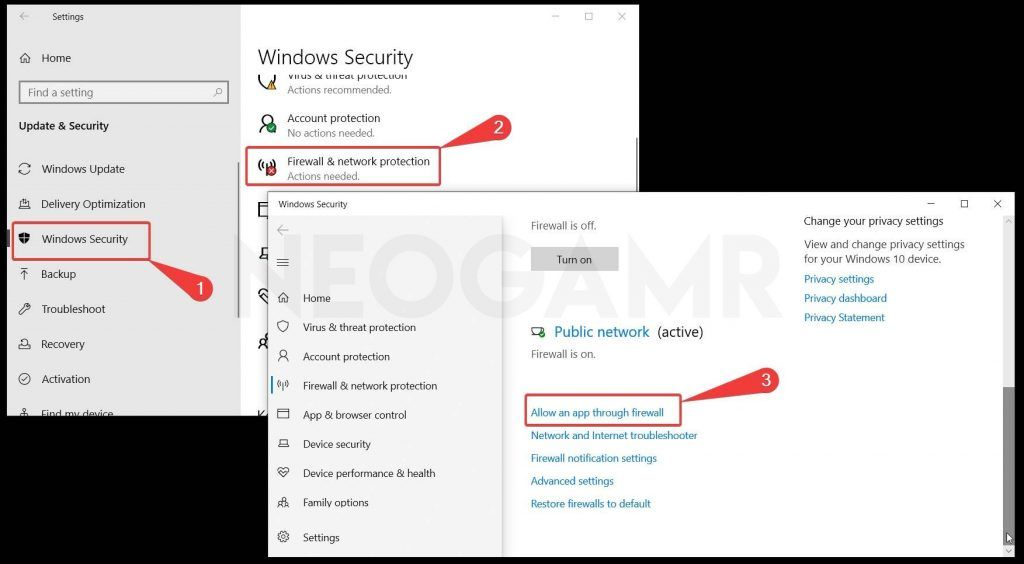 showing how to find windows 10 firewall settings