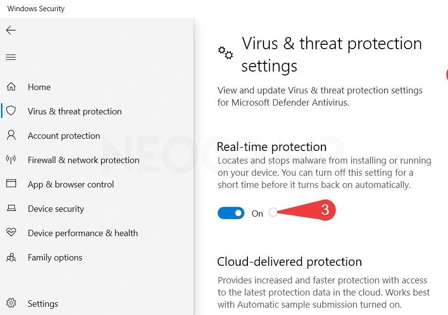 showing in the image Turning the virus and threat protection settings off