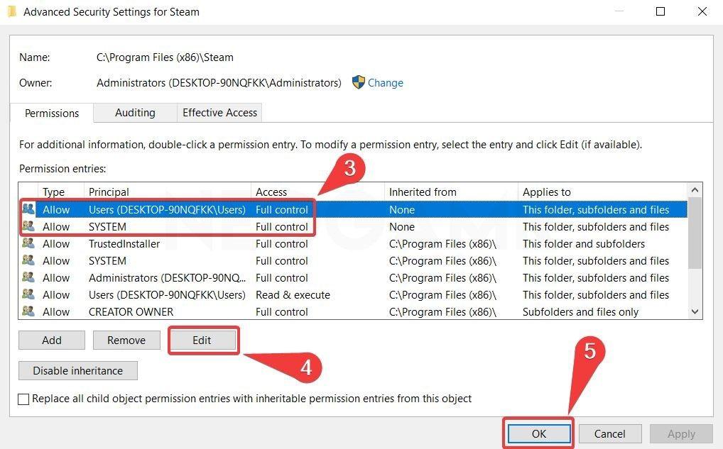 showing the steam folders advanced settings 1