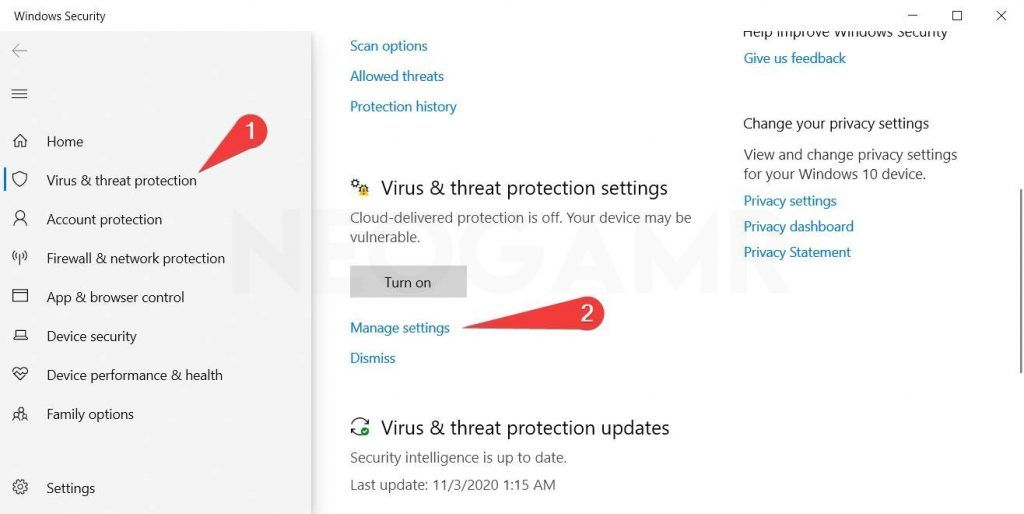 showing where the virus and threat settings are located