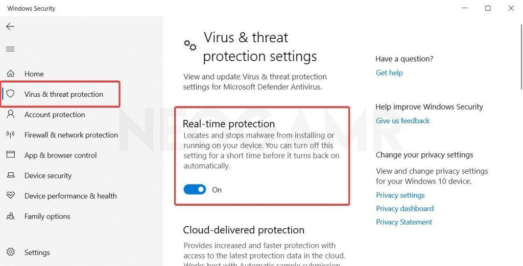 turn off real time virus threat protection settings off in windows 10