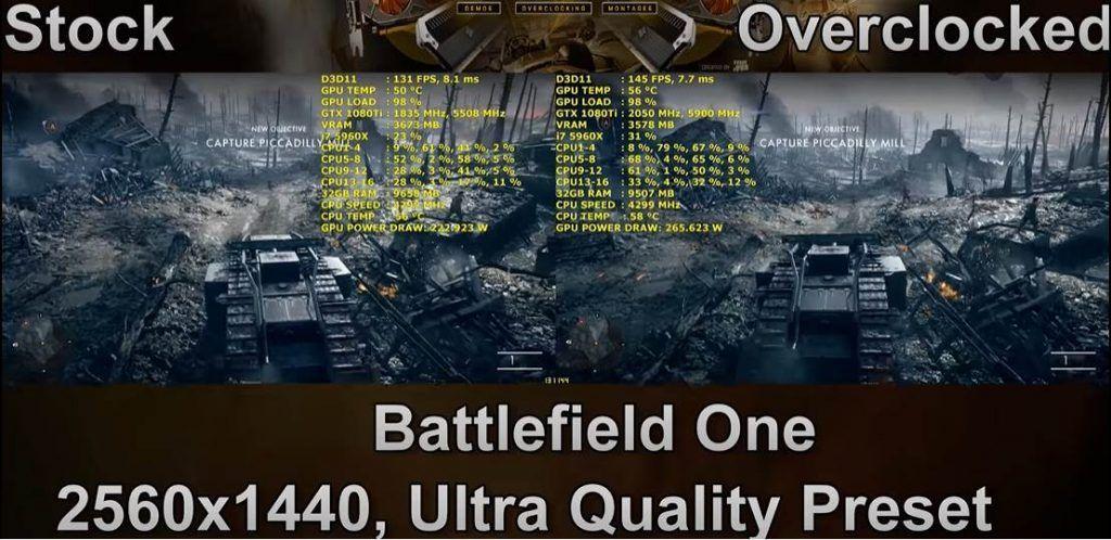 Image of Battlefield Running on GTX 1080Ti OC vs Base