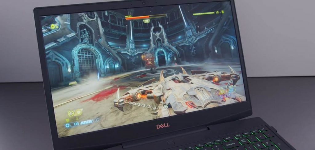 Image of Dell Laptop Playing DOOM Video Game