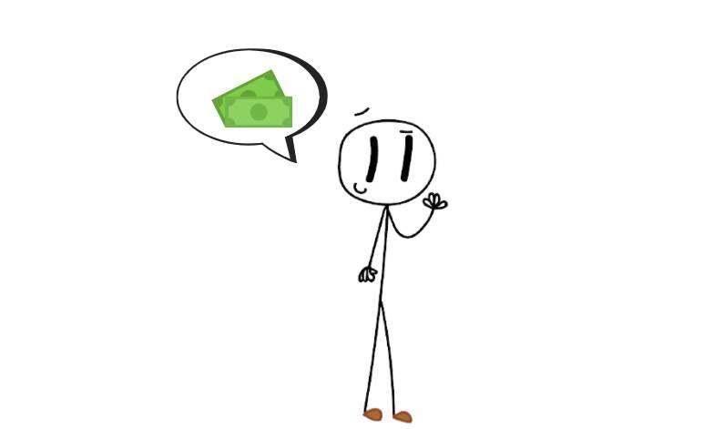 Image of Stickman thinking about money