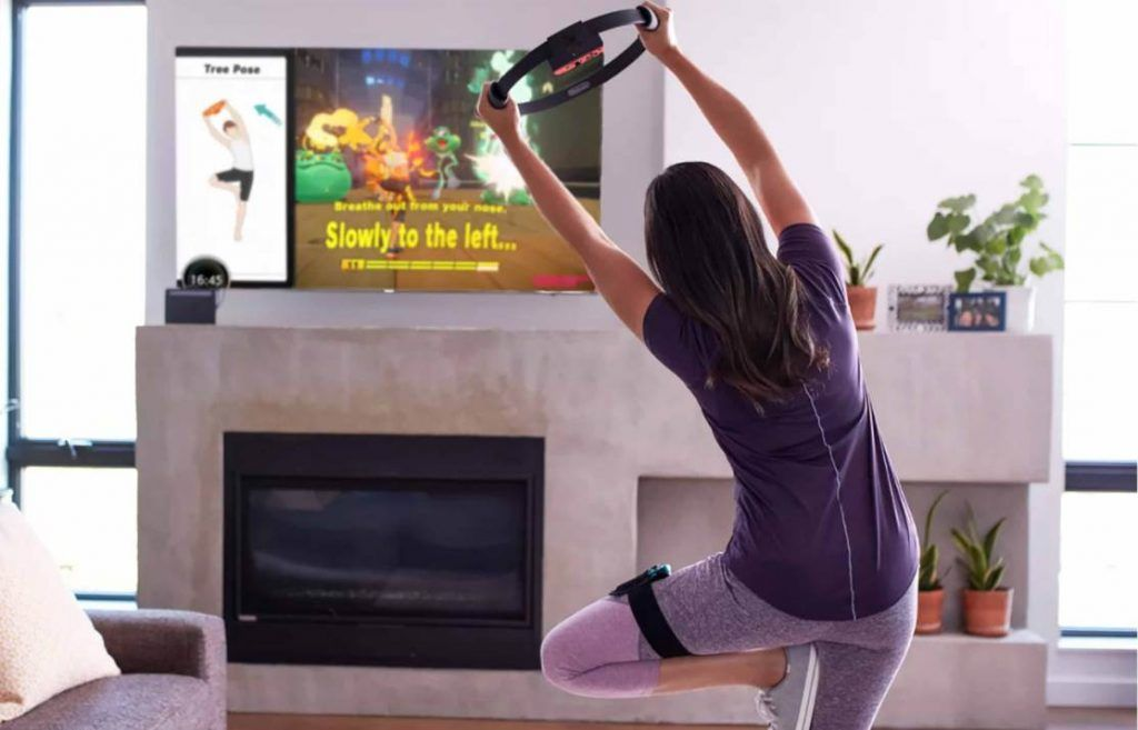 Image of person playing Workout Ring Fit Adventure Video Game