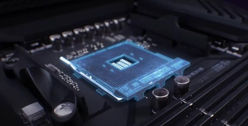 CGI of Asus x570's CPU Socket