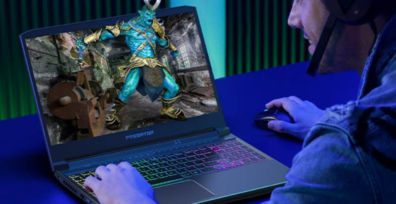 Image of Person playing a third person game on laptop