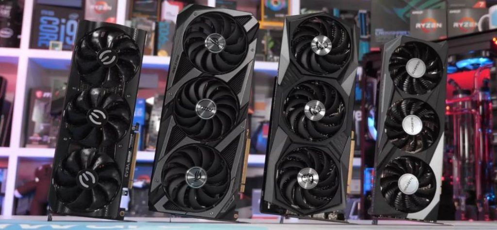 Image of RTX 3060Ti GPU from different vendors