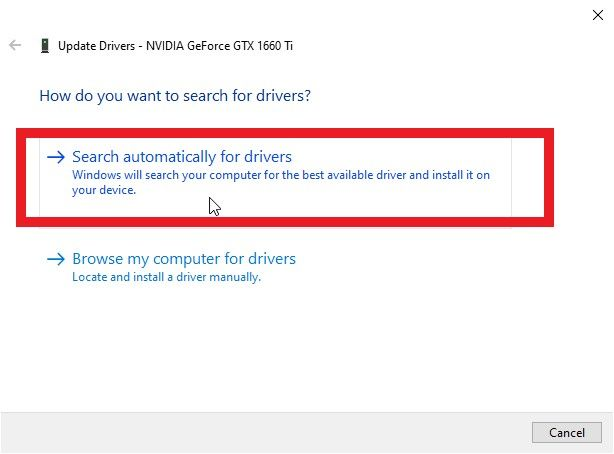 "select the ""Search automatically for drivers""."