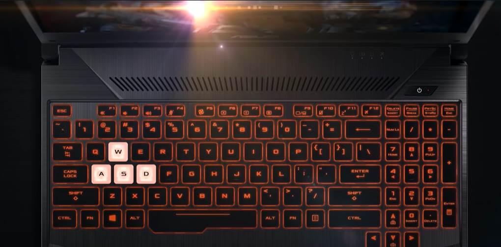 CGI of ASUS TUF Gaming FX505 Keyboard features