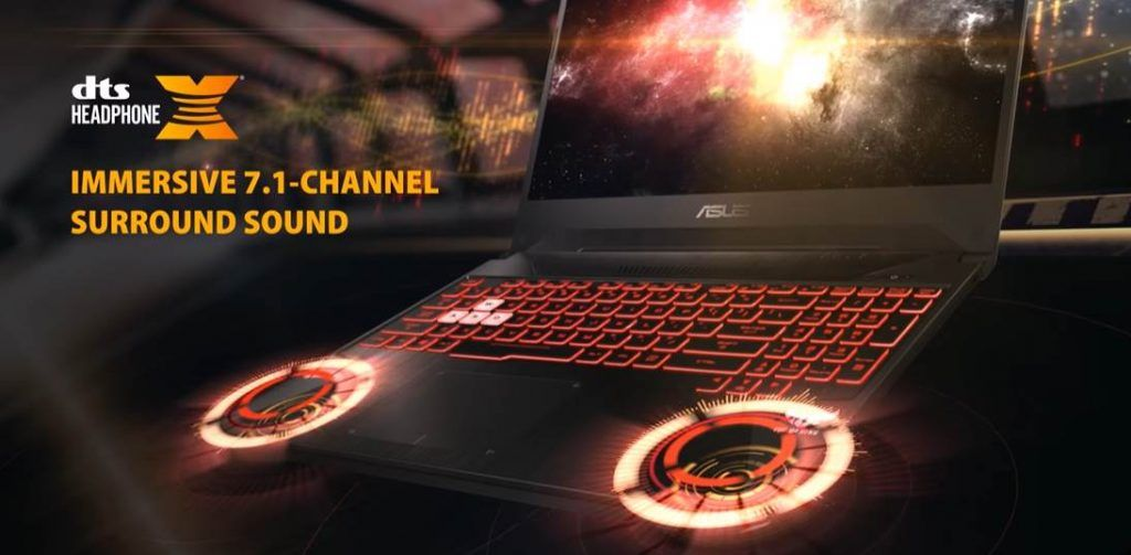 CGI of ASUS TUF Gaming FX505 showing the DTS 7.1 Sound