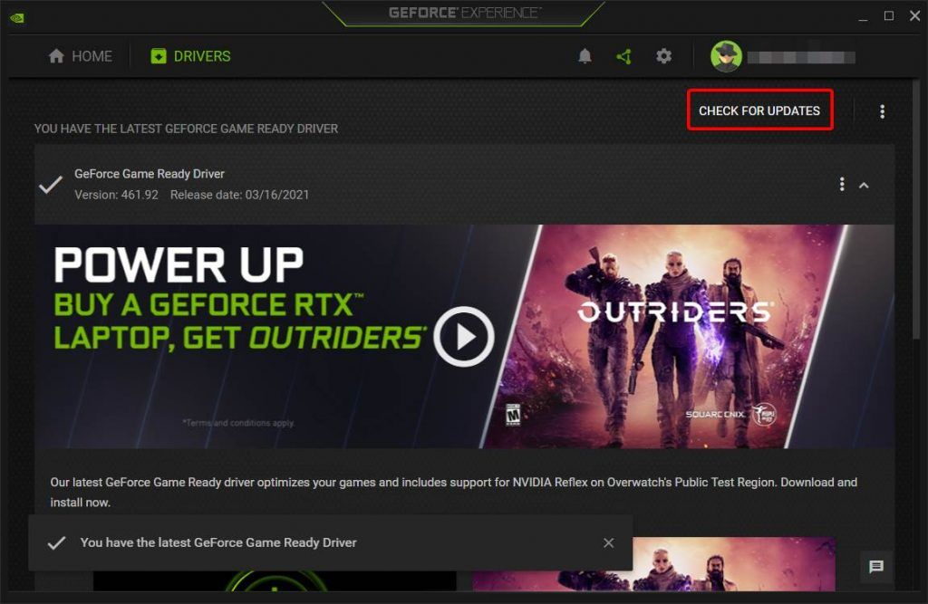 Checking GPU Drivers In GeForce Experience