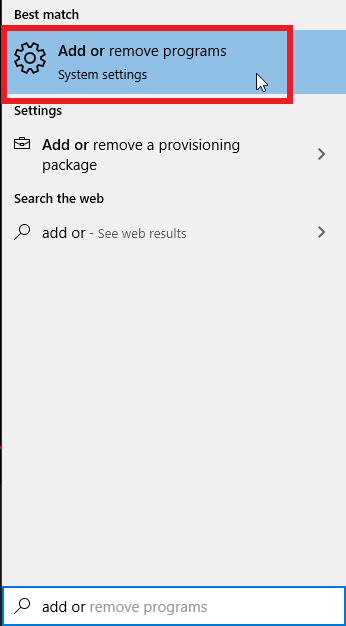 "Cortana search bar, search for ""Add or remove"