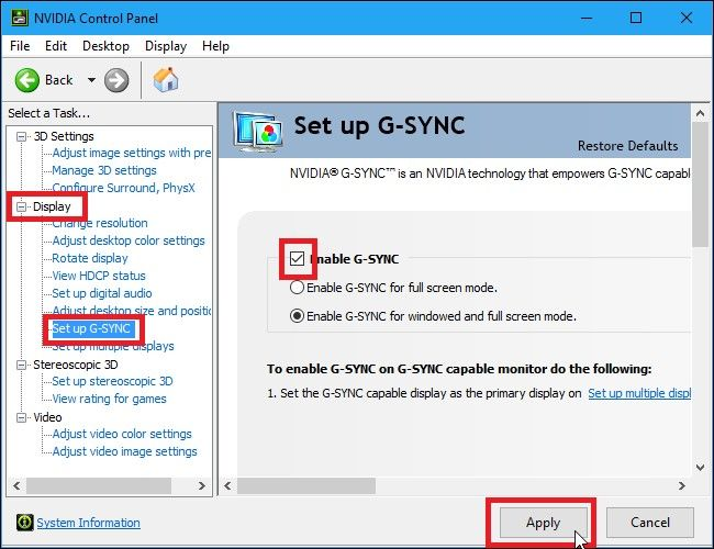 """Enable G-SYNC"""" box and click """"Apply""""."""