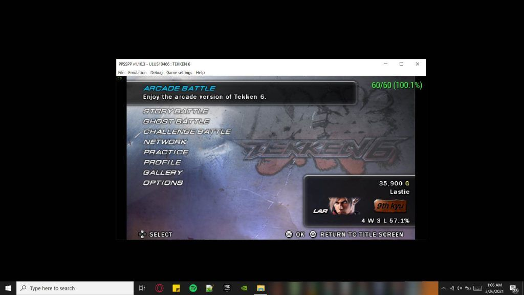 Image of PPSSPP Emulator Running Tekken 6