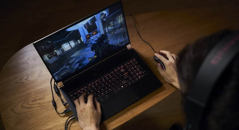 Image of a person playing video games on laptop