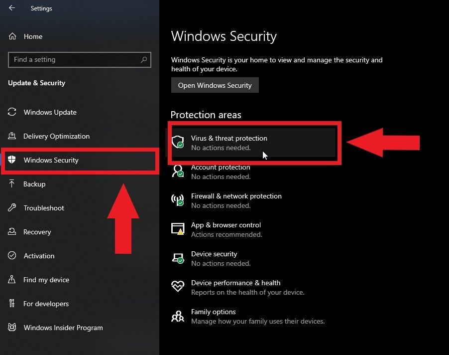 """""""Windows Security"""" and find and open """"Update & Security"""