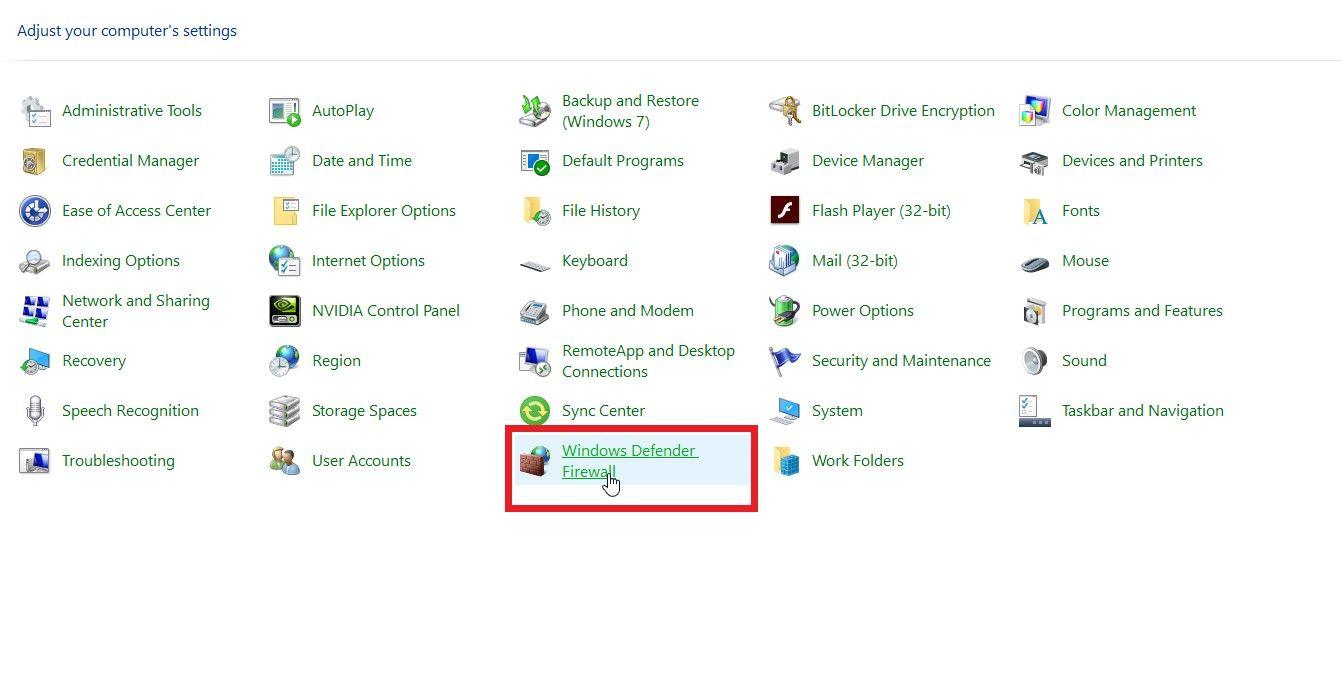 """find """"Windows Defender Firewall"""""""