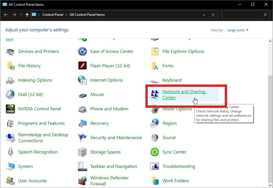 """find and select """"Network and Sharing Center"""