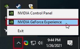 """open """"NVIDIA GeForce Experience""""."""