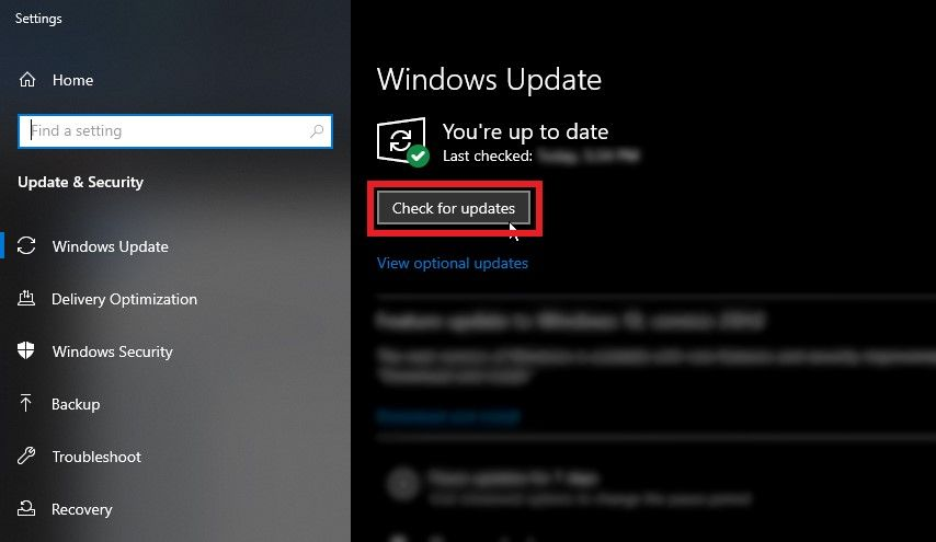 """press the """"Check for Updates""""."""