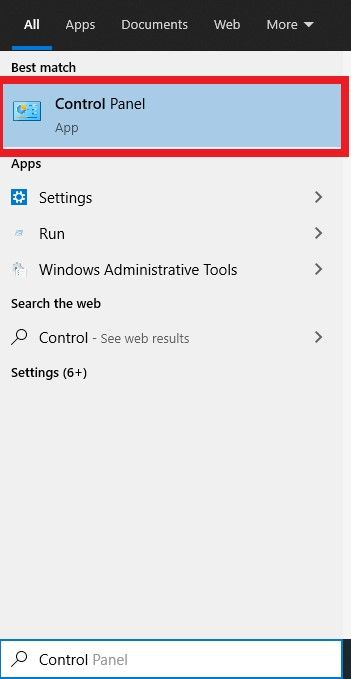 search for Control Panel in the Cortana