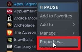 """then right-click the game and select """"Properties""""."""
