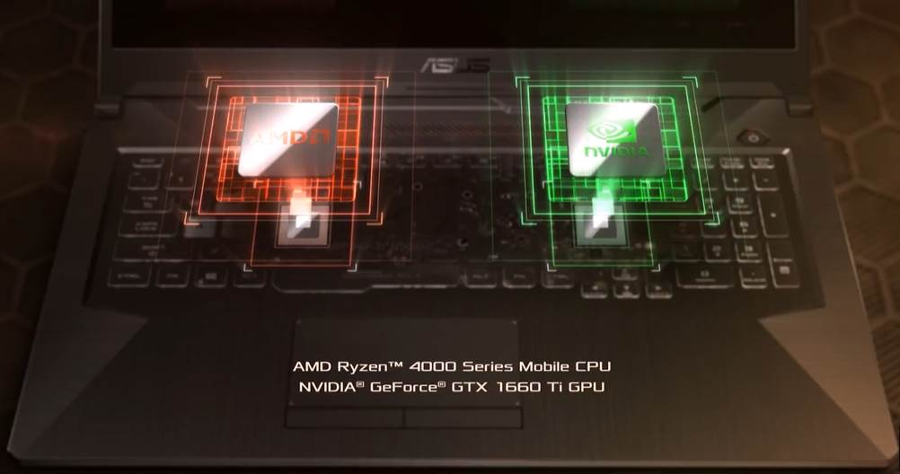 CGI of ASUS G17 CPU and GPU Chips