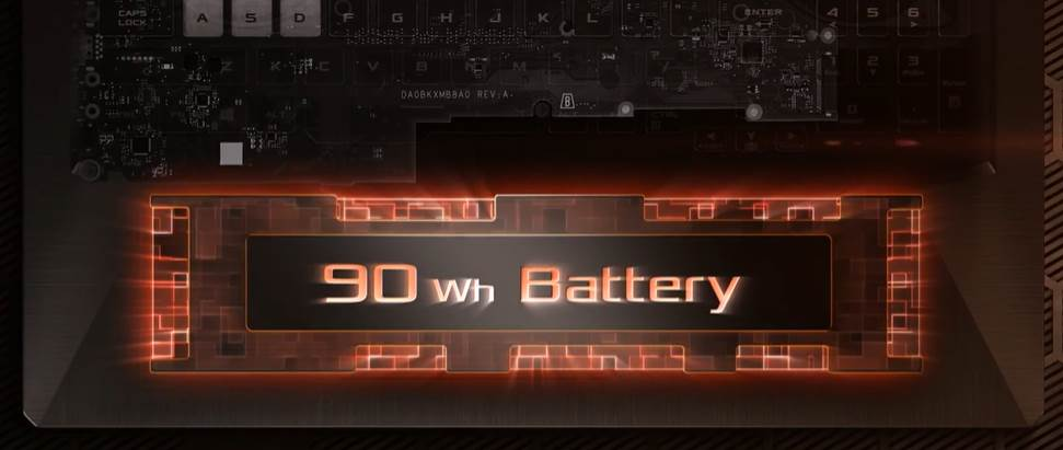CGI of Asus G17's 90Wh Battery