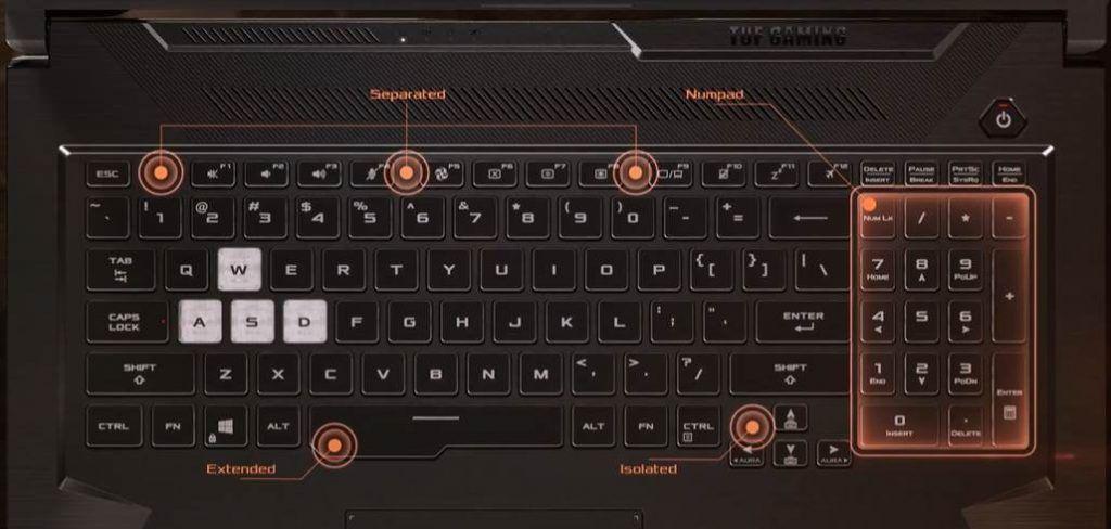 Image of Asus tuf a17 keyboard