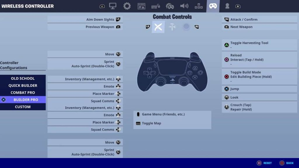 Image of Controls settings in FORTNITE