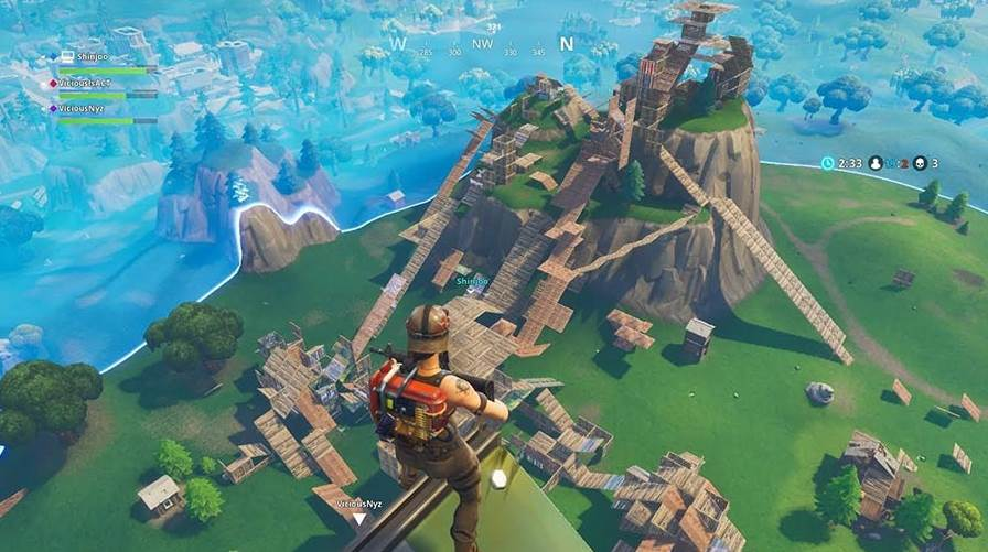 Image of Fortnite character building tall buildings