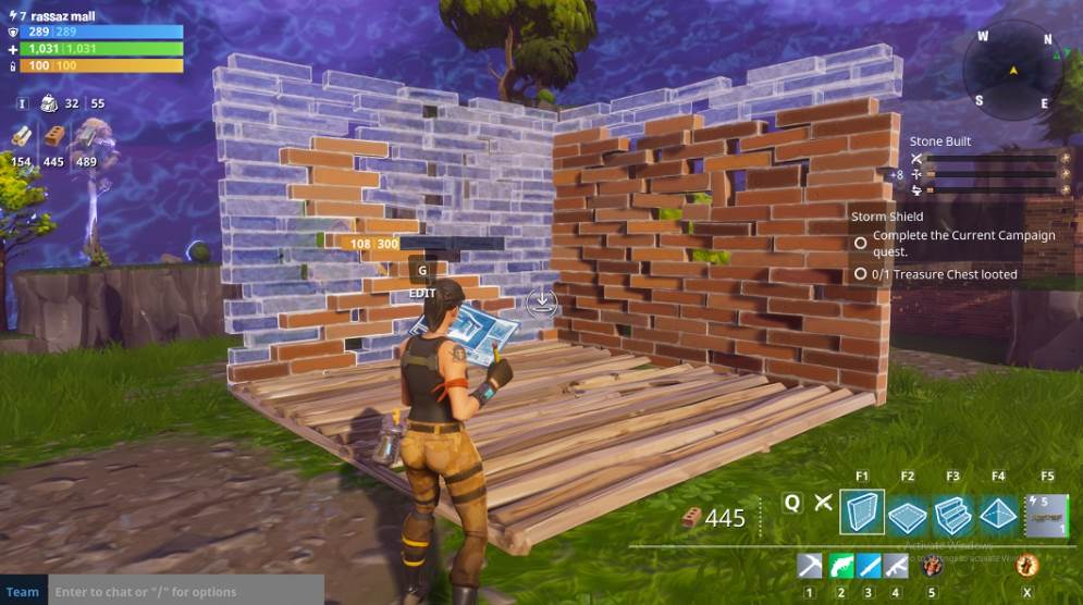 Image of fortnite showing building process