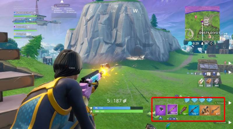 Image of showing where the inventory is in fortnite hud