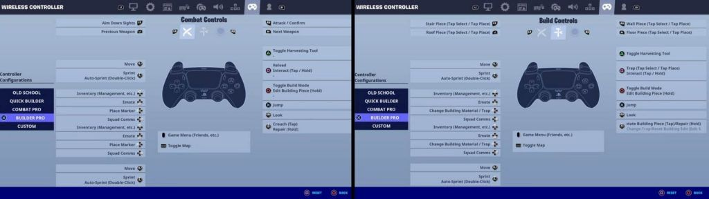 Settings of Builder Pro Layout in fortnite