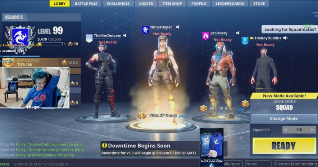 Snap of Ninja's Fortnite Stream on Youtube