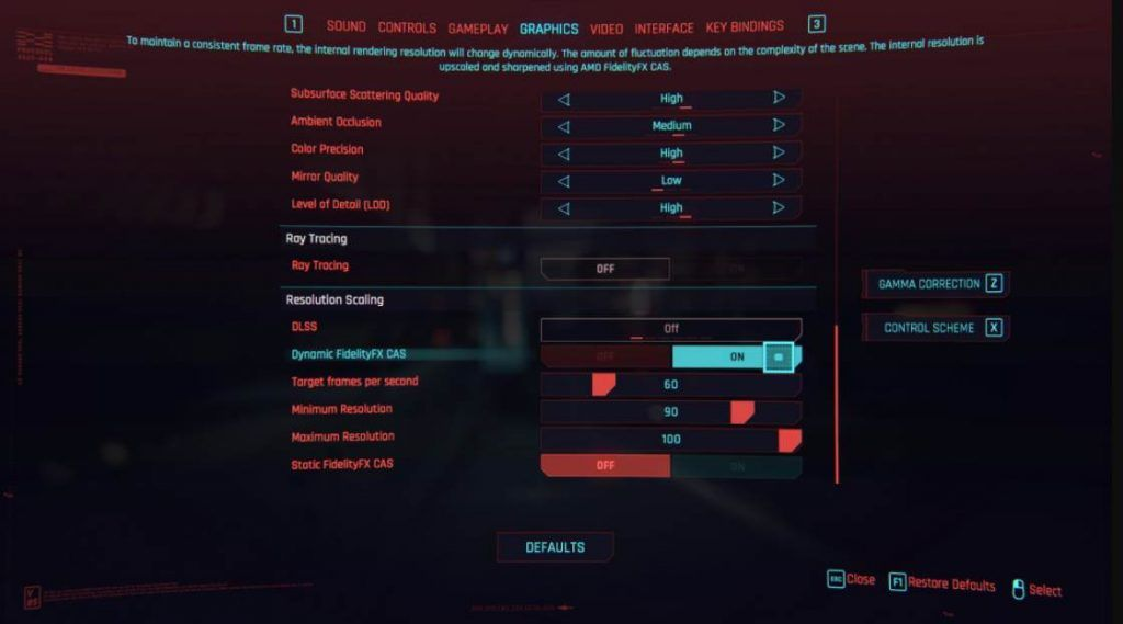 Cyberpunk 2077 Graphics settings