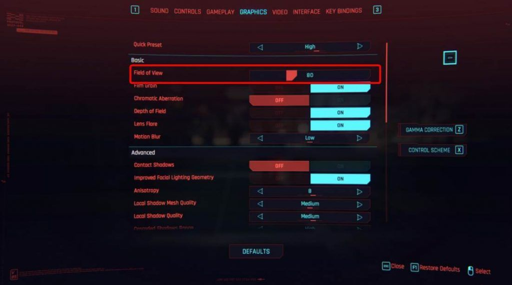 Reducing the Field of View Settings in CP 2077