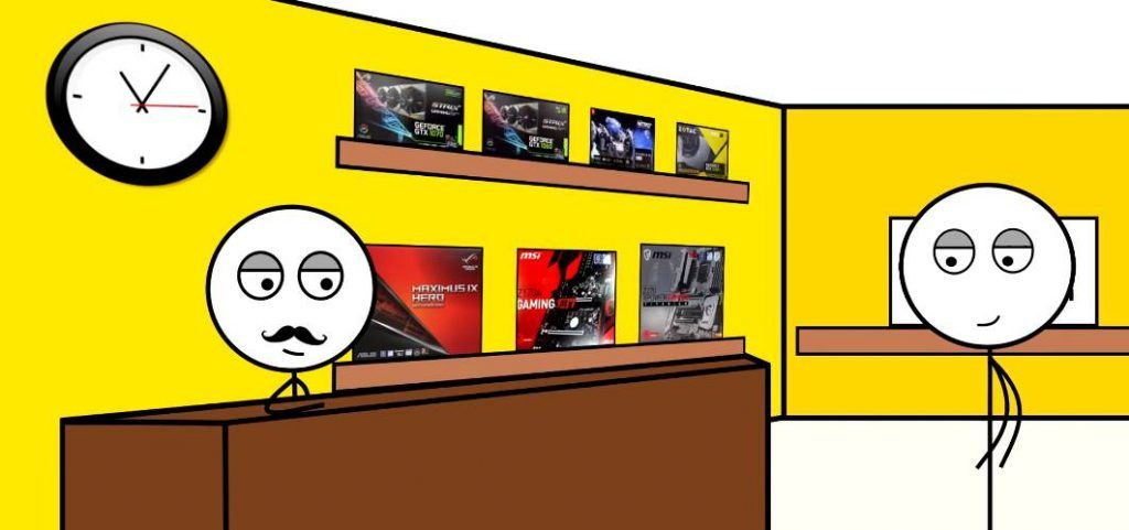 Stickman figuring buying a pc parts